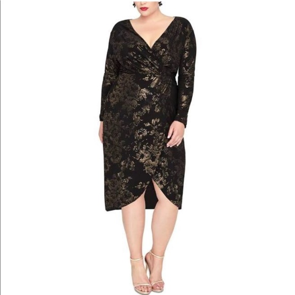 RACHEL Rachel Roy Dresses & Skirts - Rachel Roy Floral Foil Print Wrap Dress Black